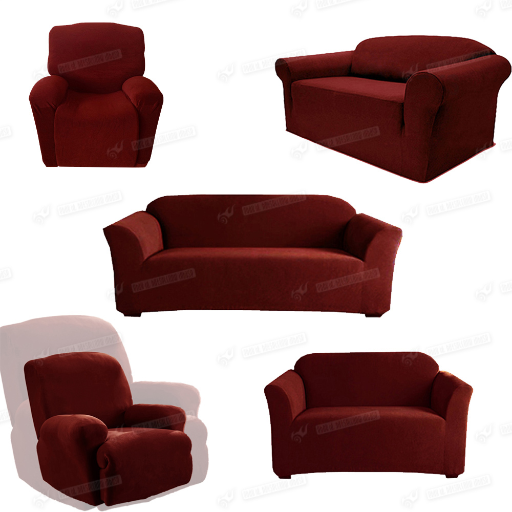 Slipcover Recliner Loveseat Sofa Cover Wine Red Chocolate Camel Blue 123 Seater Ebay