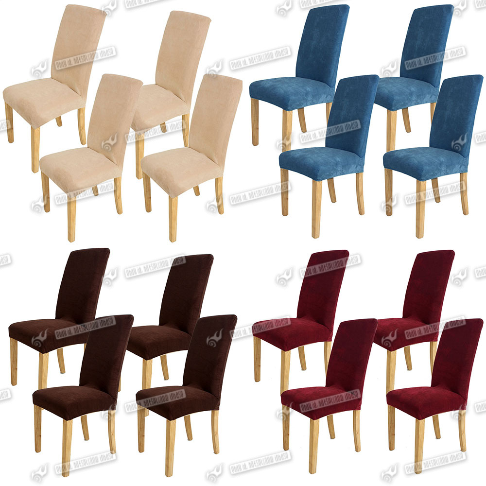 4x super fit stretch seat protector dining room chair for 4 dining room chair covers