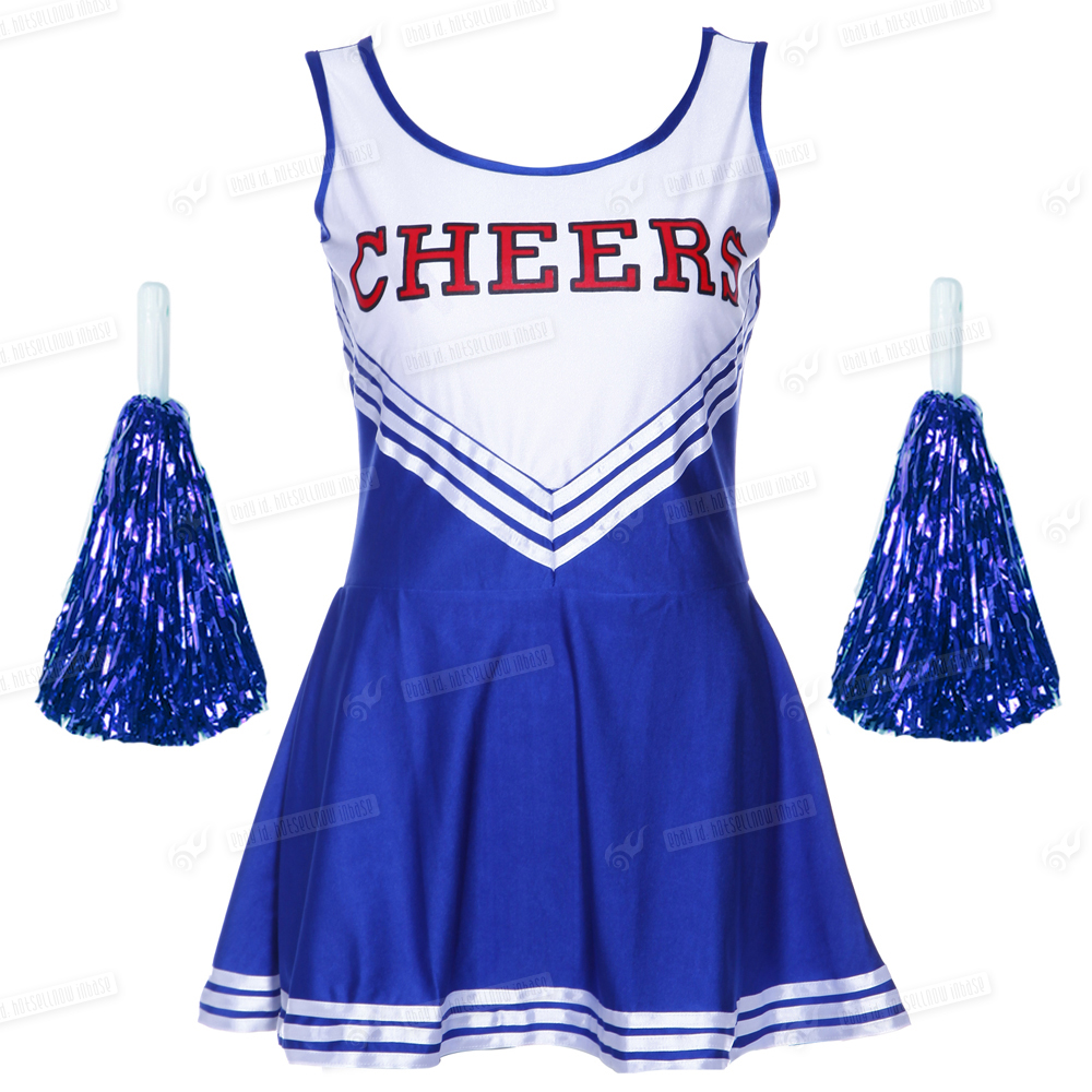 UK HIGH SCHOOL MUSICAL CHEERLEADER GIRLS UNIFORM COSTUME OUTFIT COLOR POM POMS