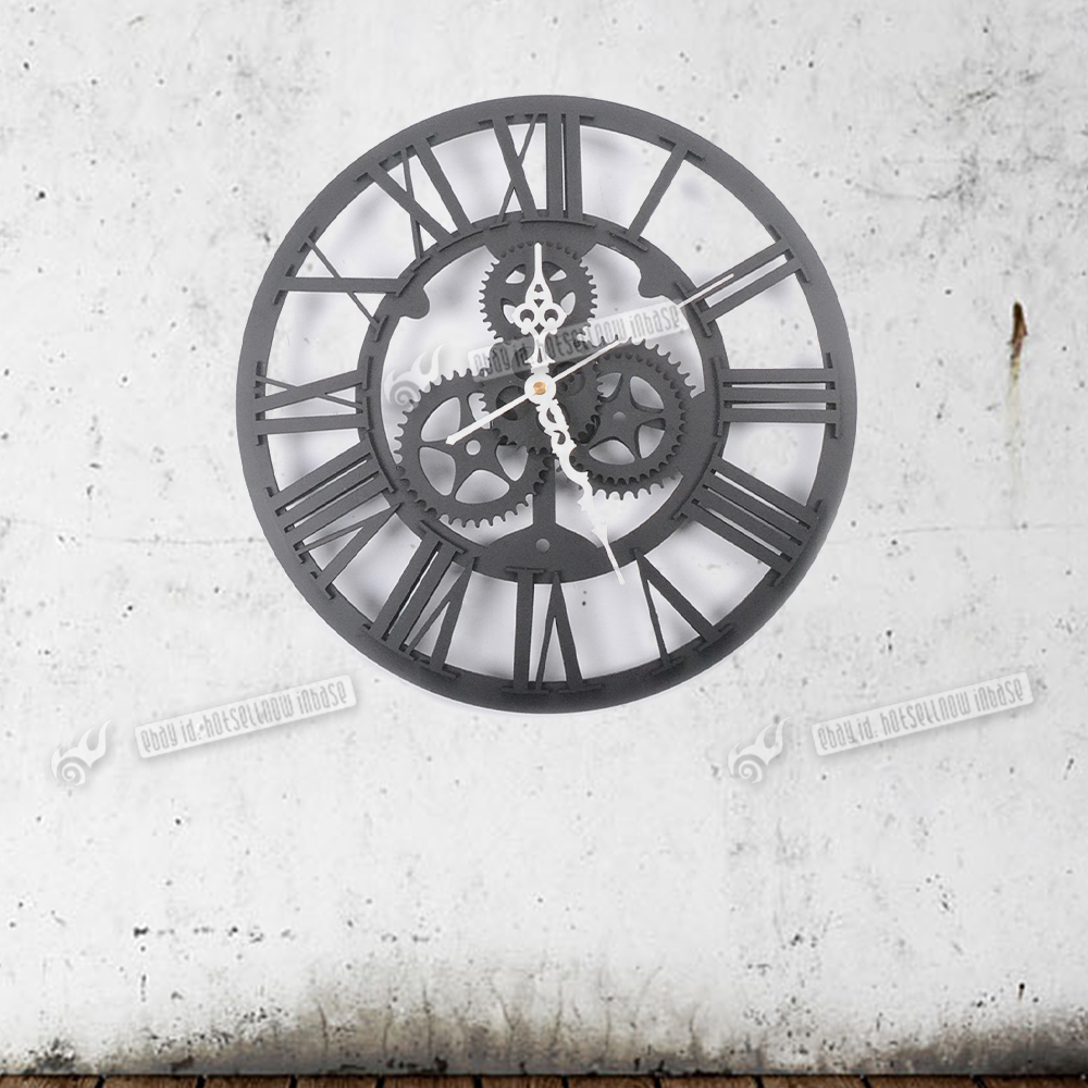Large Round Metal Color Wall Clock Vintage Steampunk