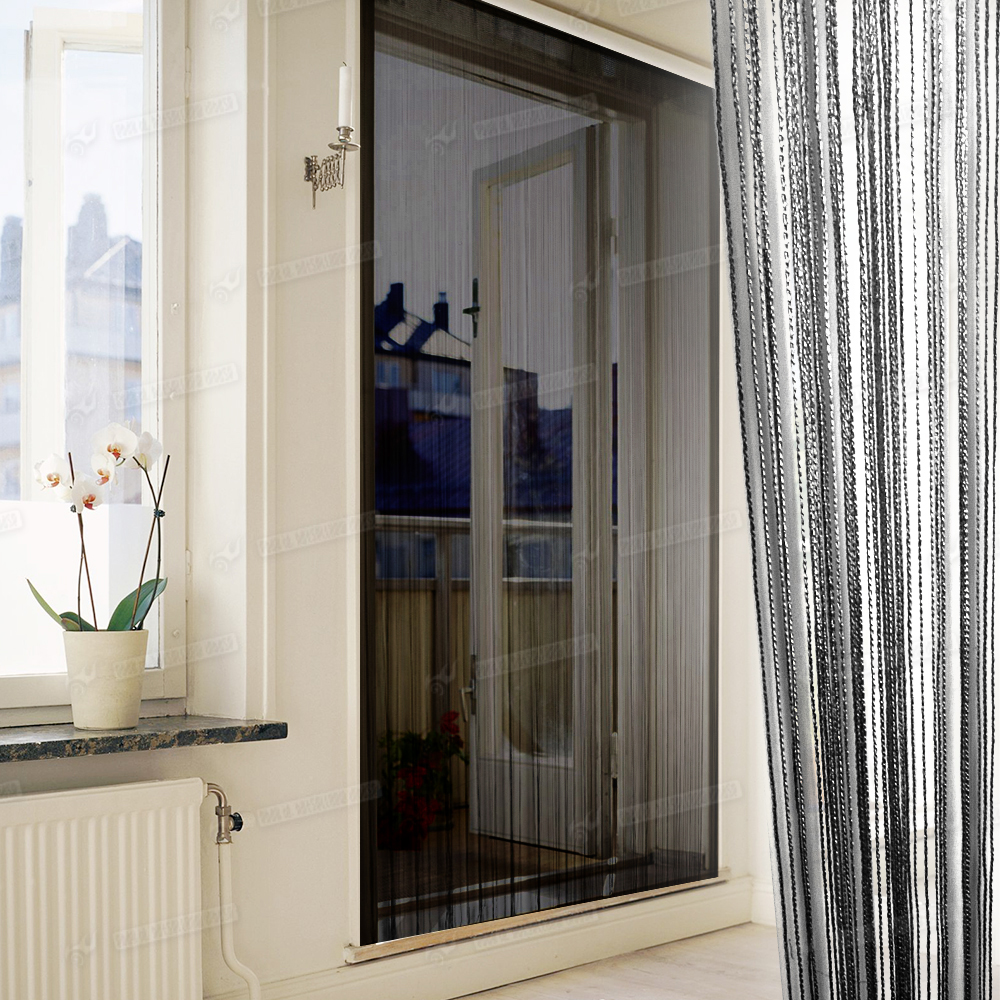 String curtains patio net fringe for door fly screen for Net curtains for patio doors