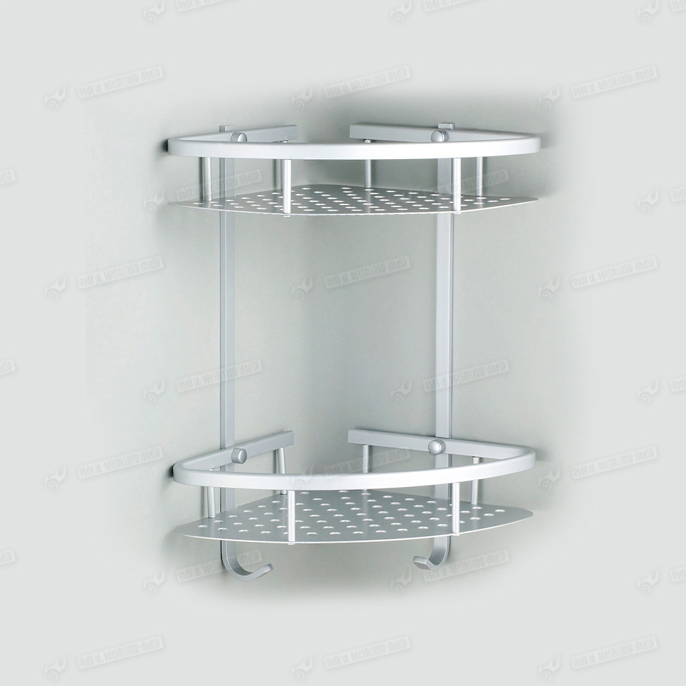 Double corner soap shampoo shelf shower room organiser for Etagere en verre salle de bain