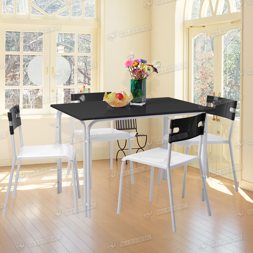 Uk Stock Black & White 4 Seat Dining Set Table And Chair
