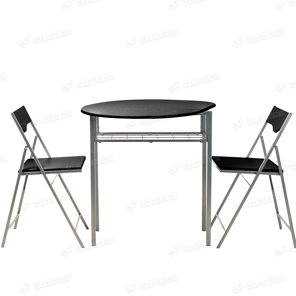Drop leaf dining table and 2 folding chairs breakfast set black wooden furniture ebay - Drop leaf table and chairs uk ...