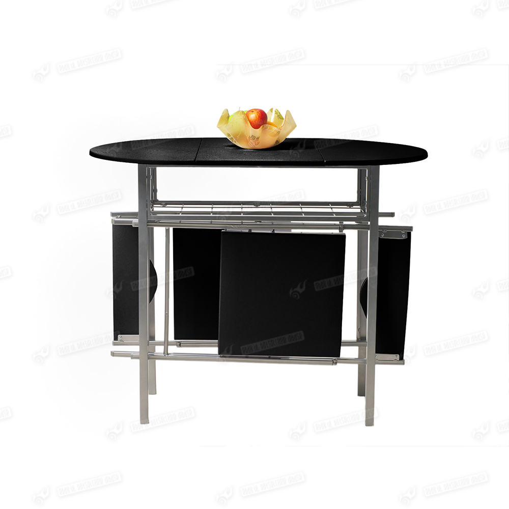 Extending portable butterfly fashion design black dining for Extending dining table and chairs