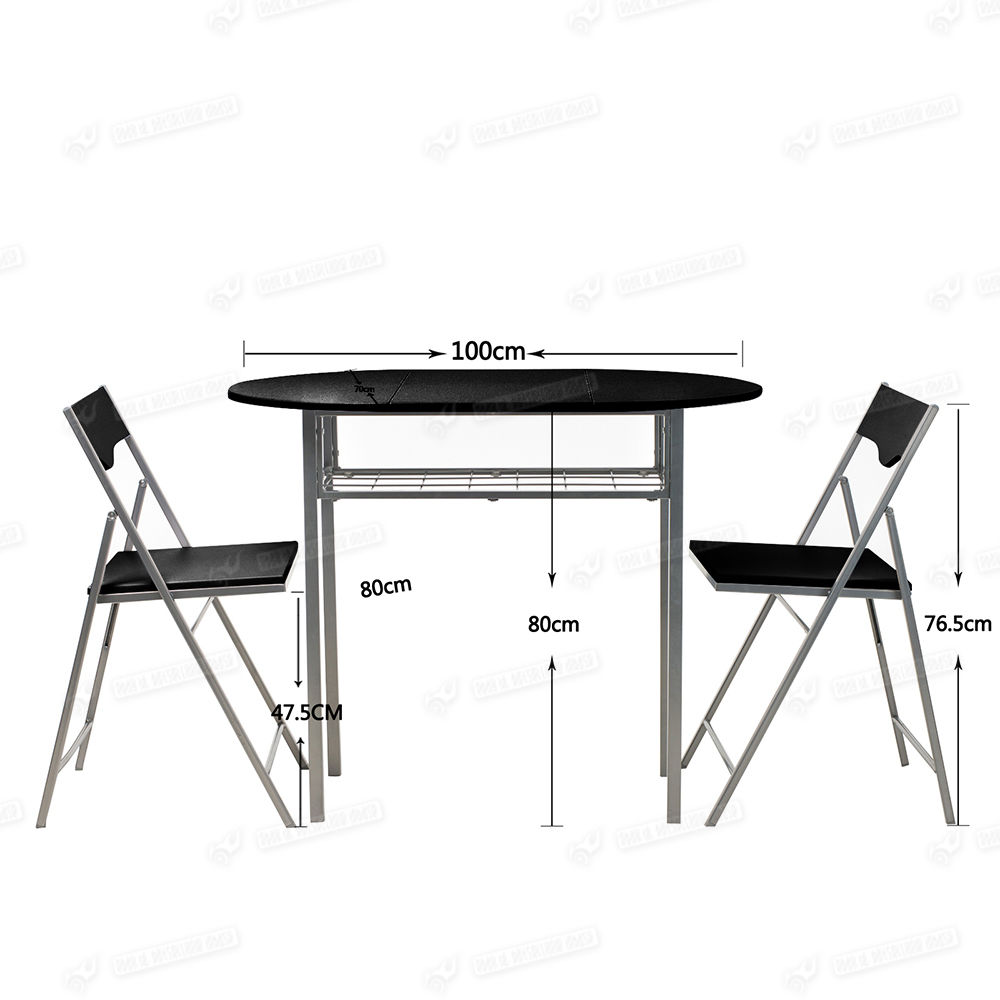 Drop Leaf Dining Table And 2 Folding Chairs Breakfast Set