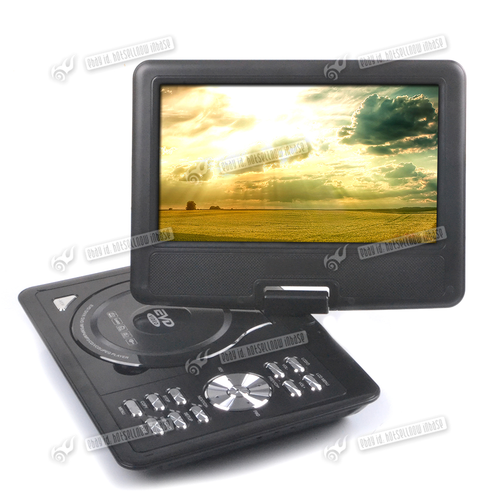 Black 9 inch portable dvd vcd player swivel screen in car for Div player