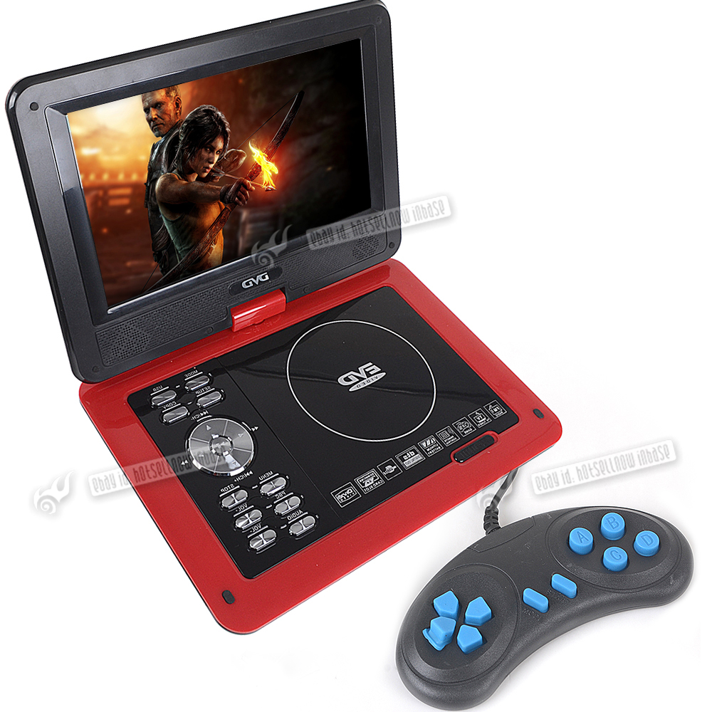 red 9 8 portable evd dvd usb sd mp4 tv player fm radio with free 300 games disc ebay. Black Bedroom Furniture Sets. Home Design Ideas