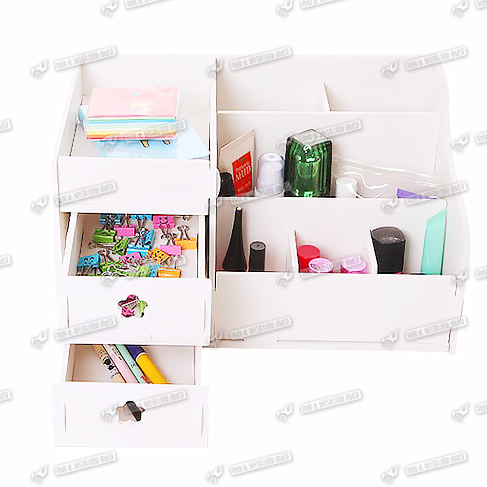 storage wooden desk organiser acrylic drawers white holder desk tidy ...