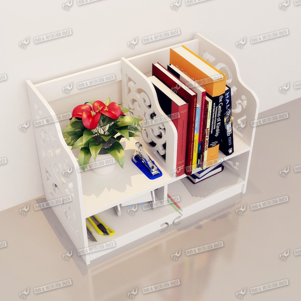 Desk Stationery Storage Organizer White Wooden Desktop Tidy Book Shelf Drawer Ebay