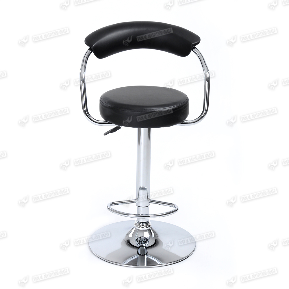 Black low back barstool chrome swivel breakfast kitchen for Breakfast bar stools with backs