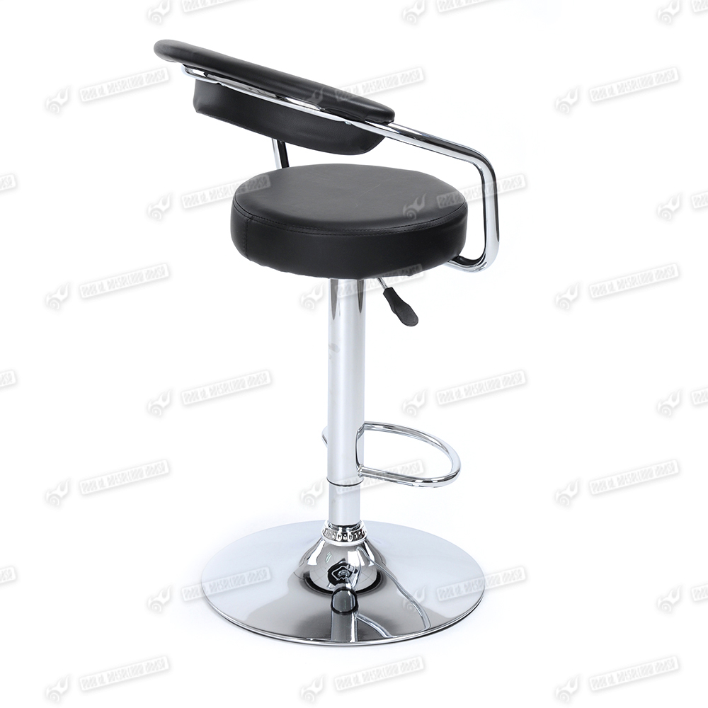 Black low back barstool chrome swivel breakfast kitchen for Kitchen swivel bar stools