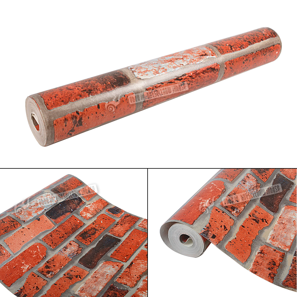 3d effect home wall paper brick red wall roll retro rustic for 3d wallpaper roll