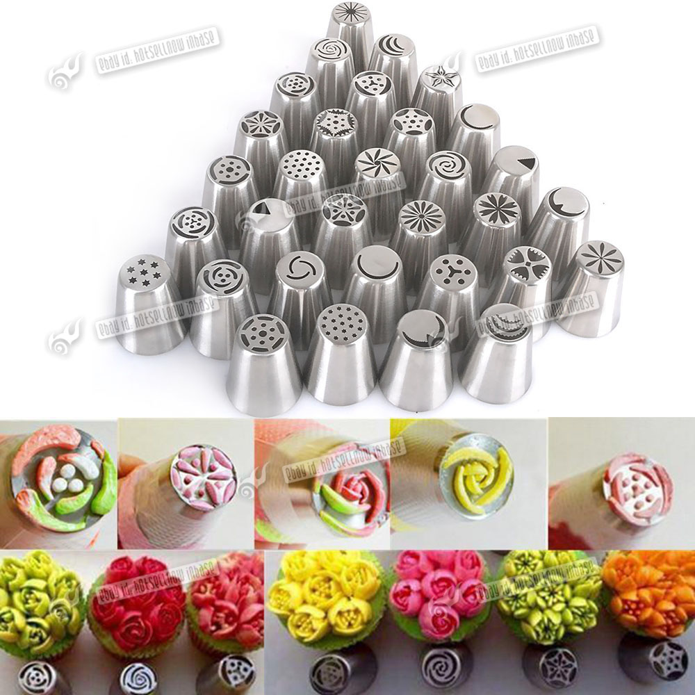 SUGAR CRAFT 32PC ICING PIPE CAKE NOZZLE SET NOZZLES ...