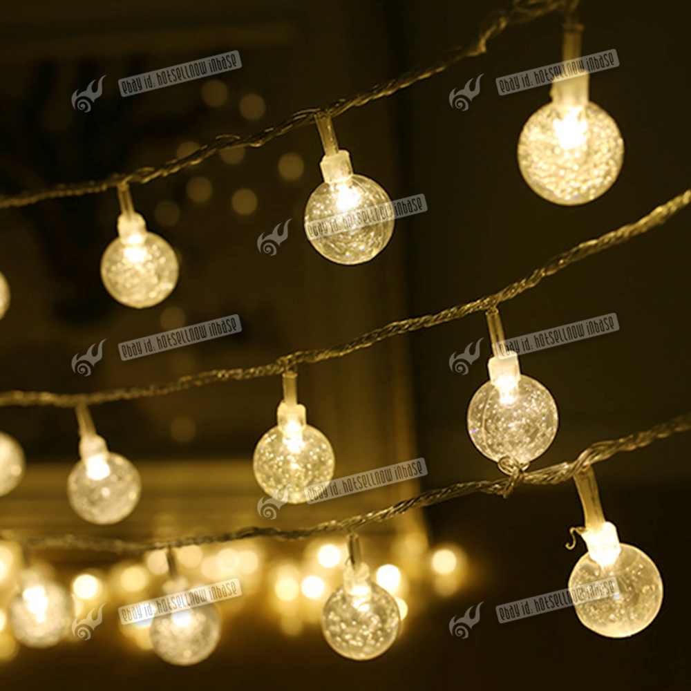 Solar Globe String Lights Outdoor : 30 LED Multi Colour Crystal Ball Globe Lights Solar Outdoor String Light Patio