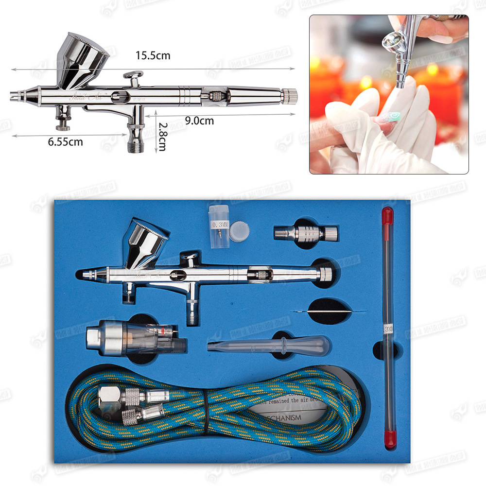 dual action 9cc needle airbrush spray gun air brush for model paint tattoo. Black Bedroom Furniture Sets. Home Design Ideas