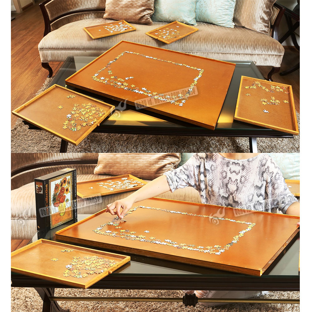 1000 Pcs Jigsaw Puzzle Mat Storage Table Wooden Portable