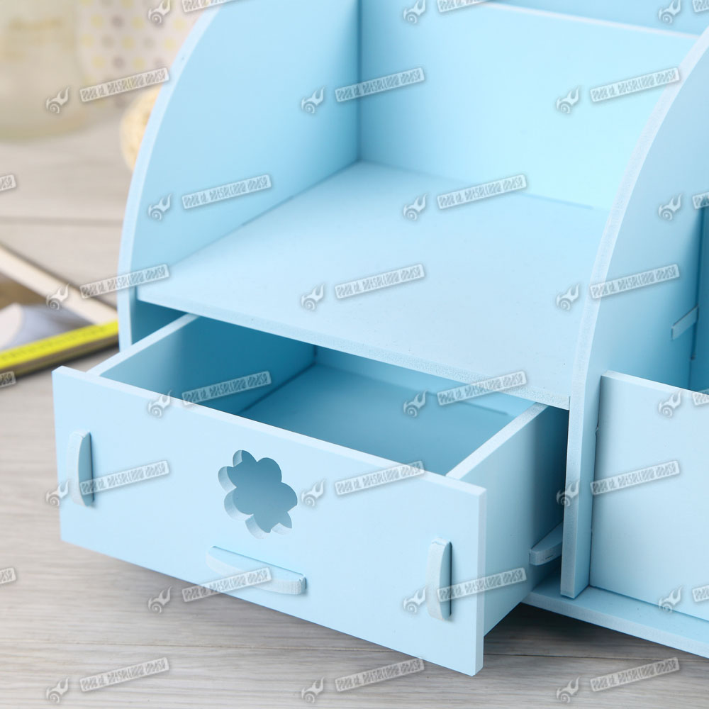 Wooden cute desk organiser two drawers cosmetic stationery storage box ebay - Desk stationery organiser ...