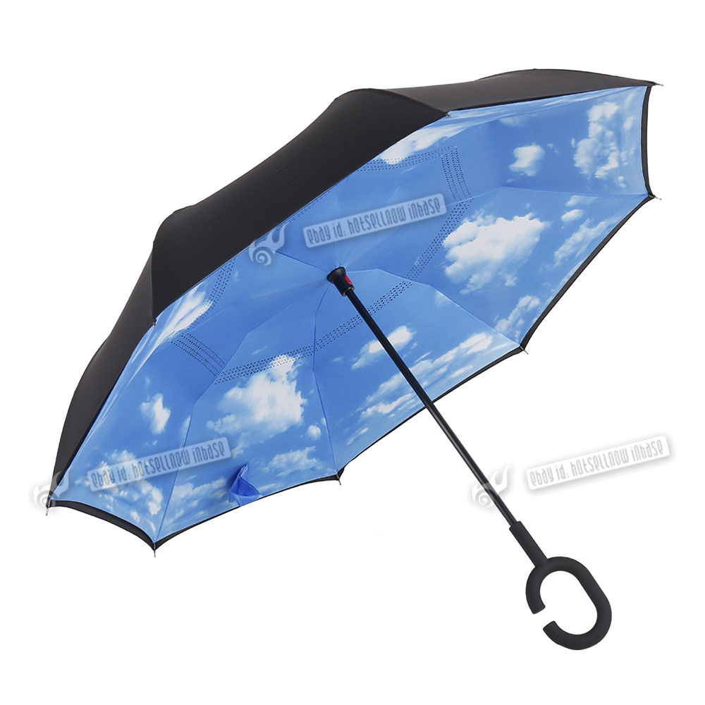 C-Handle Big Double Layer Inverted Upside Down Windproof