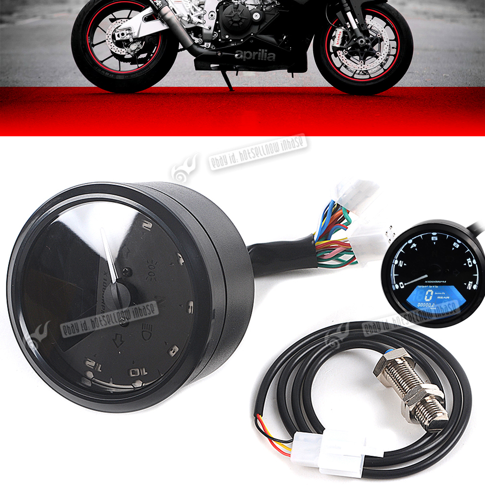 Electronic Speedometer Gauges : Rpm motorcycle lcd digital speedometer tachometer