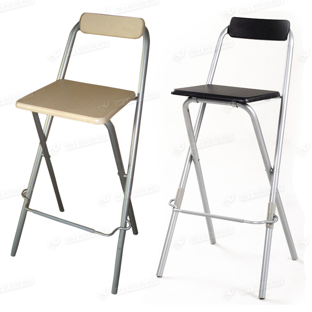 2 x Wooden Folding Kitchen Bar Stools Silver Tube Retro Chairs Black