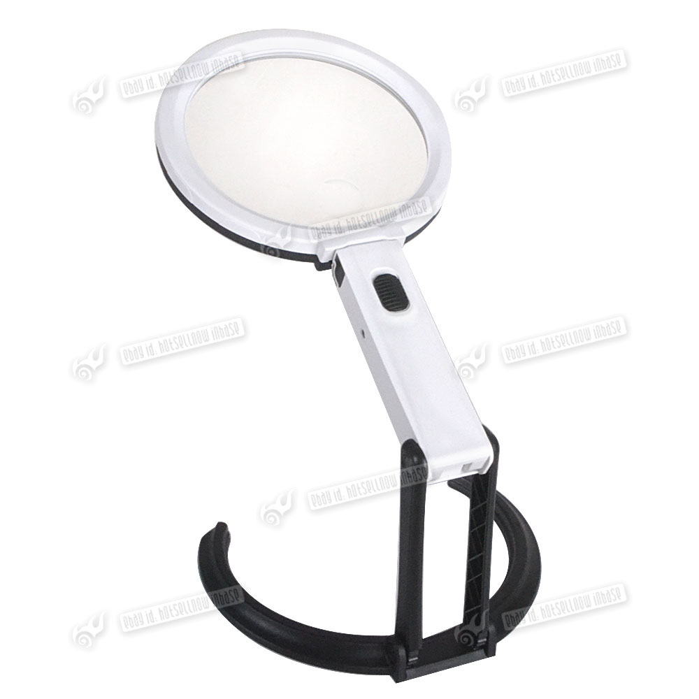 5x large magnifying glass with light led lamp magnifier foldable stand. Black Bedroom Furniture Sets. Home Design Ideas