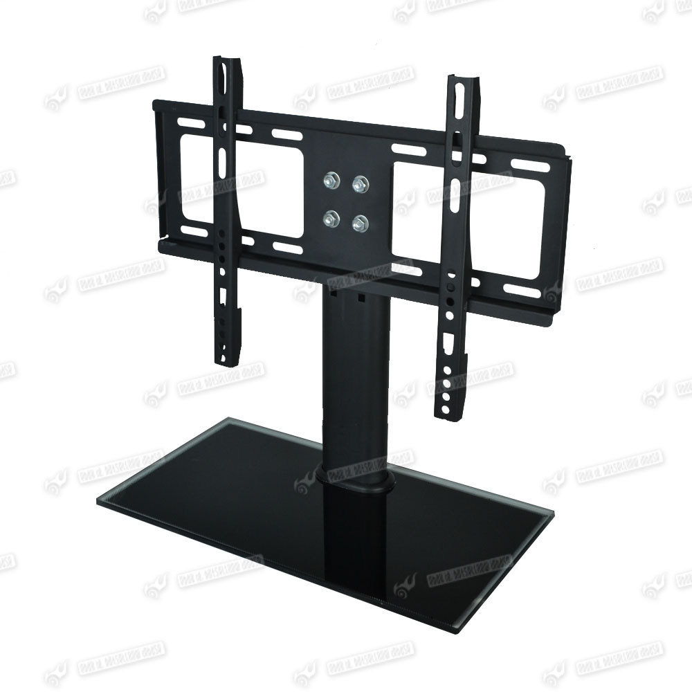 lcd plasma tv hifi rack stand wall mount bracket glass shelf black for 26 32 tvs ebay. Black Bedroom Furniture Sets. Home Design Ideas