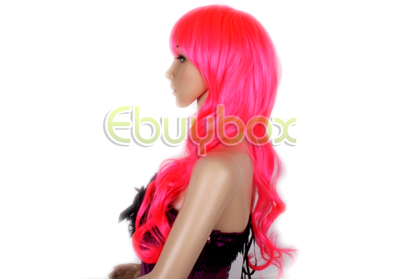 REELVA-Ladies-Curly-Wavy-Long-Wigs-Womens-Fancy-Dress-Cosplay-Party-Hot-Pink