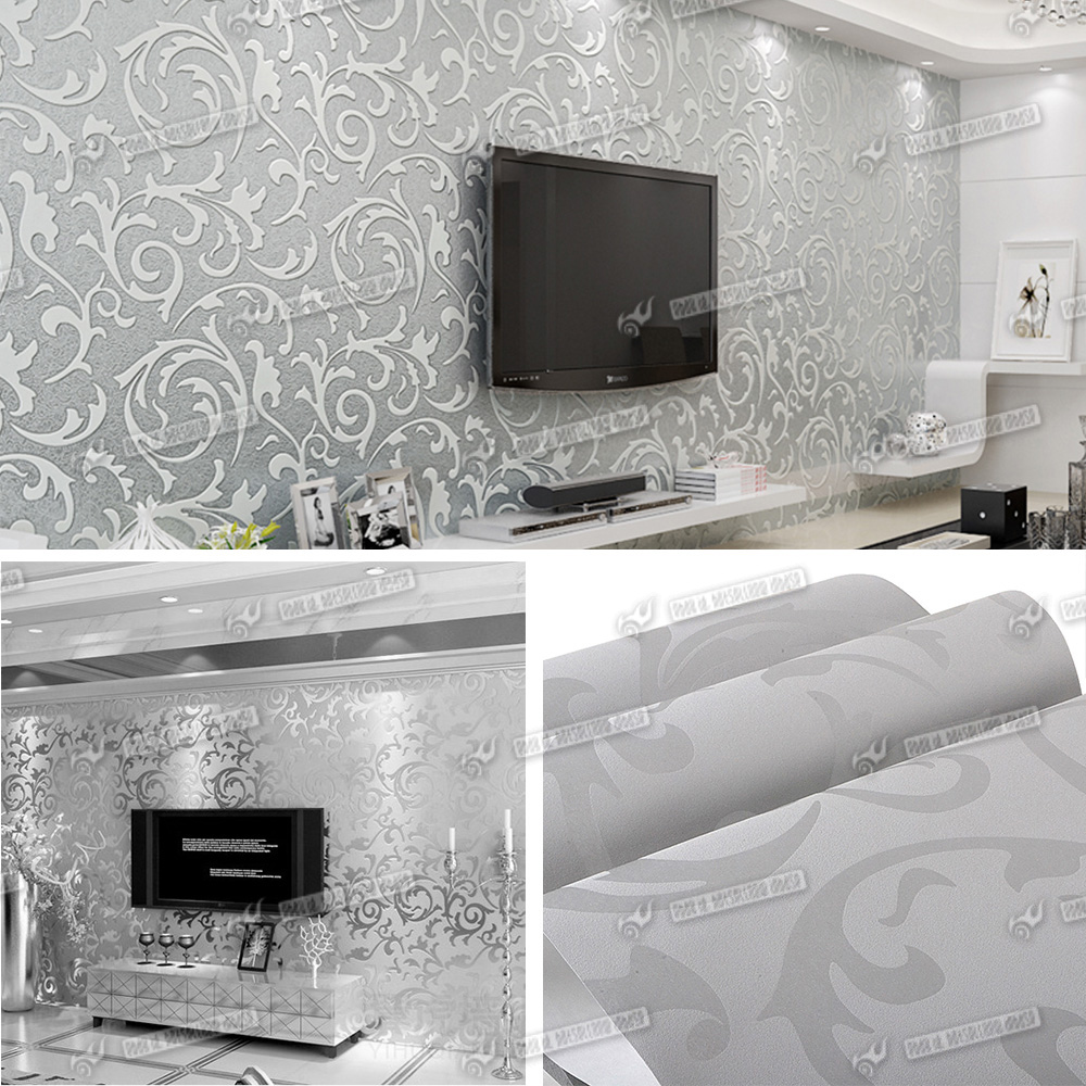 New heavyweight vinyl silver grey damask feature wall for Grey silver wallpaper living room