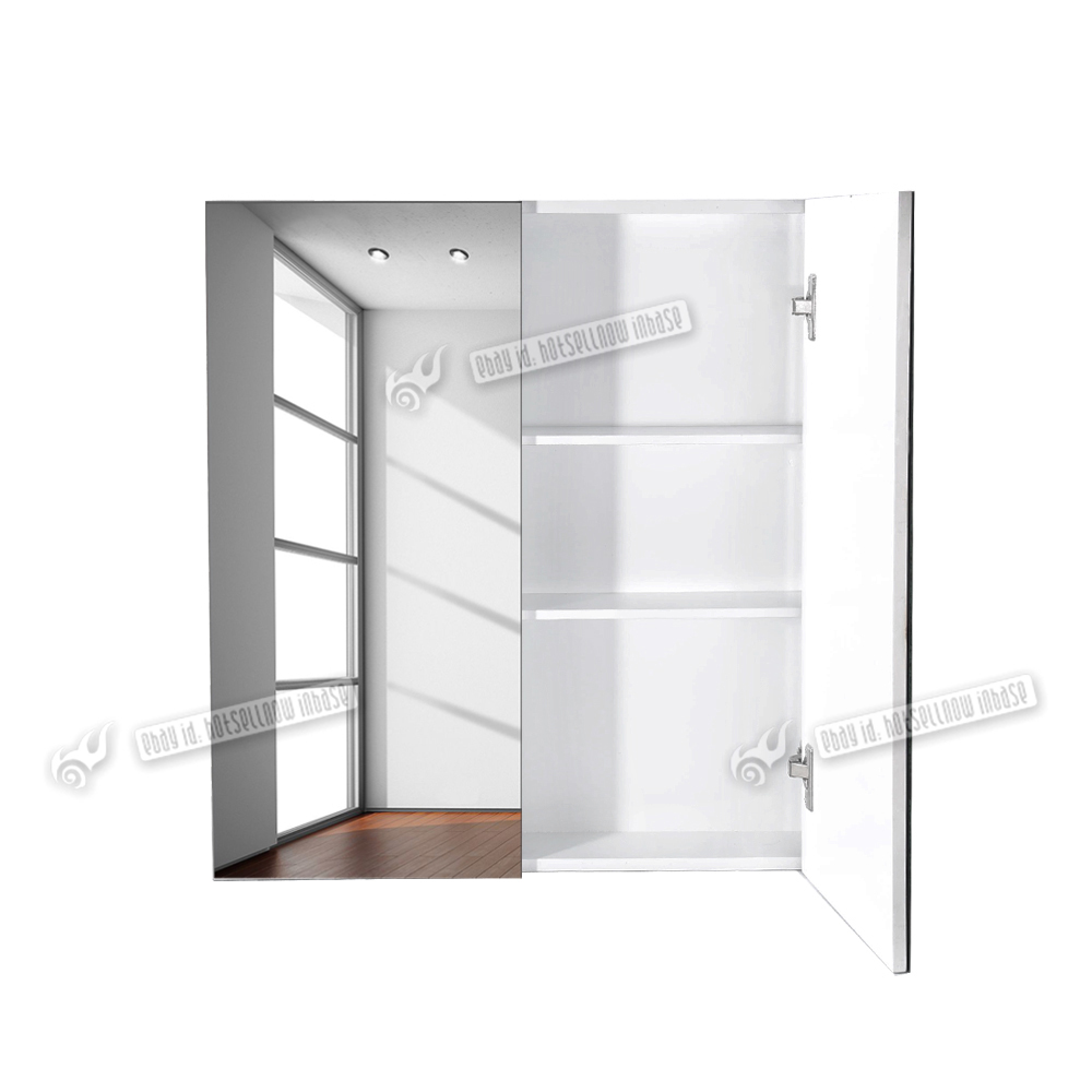 gloss white wall hung bathroom mirror storage cabinet with shelves