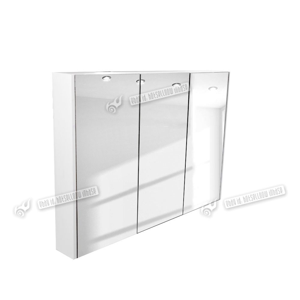 lux 900mm gloss white 3 door mirror bathroom cabinet wall mounted
