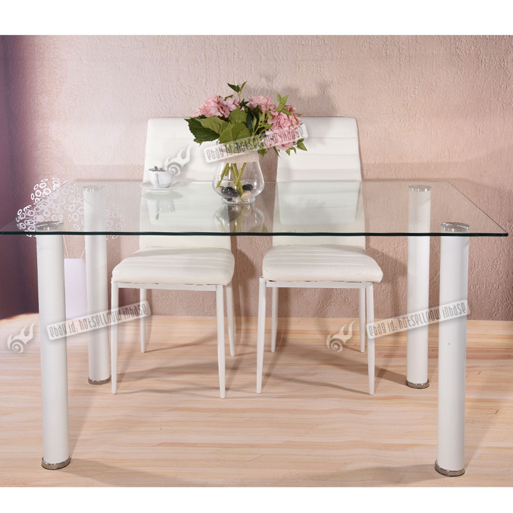 Clear Glass Dining Room Table Set And With 4 Faux Leather