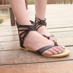 New Red Ladies Flat Toes Sandals Casual Shoes (MOQ=5)