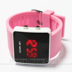 RED LED Light Square Case Sports Watch Pink New Ladies***