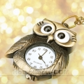 Mini Bronze Tone Owl Pendant Quartz Pocket Watch Chain ******