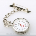 Nurse Brooch Quartz White Tone Dial Pocket Watch New  ******