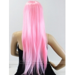 Womens Pink Long COSPLAY WIG Staight Hair Fancy Dress