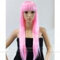 Womens Pink Long COSPLAY WIG Staight Hair Fancy Dress*(MOQ=5)