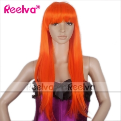 Women's Long Straight Wigs/Wig Orange Color