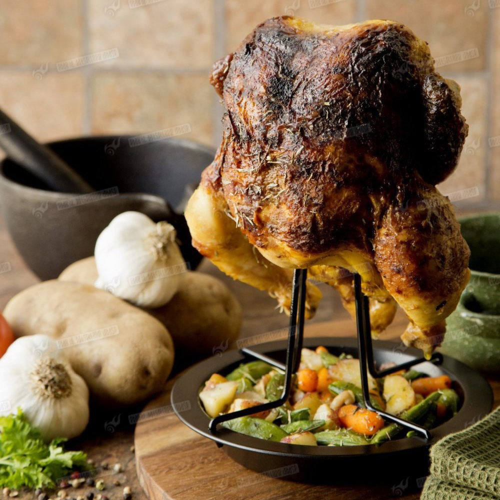 Beer Chicken Roaster Can W Drip Pan Bbq Grill Stand