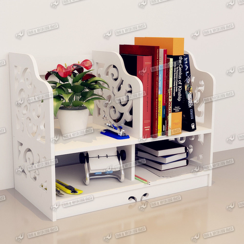 desk organizer shelf desk stationery storage organizer white wooden desktop 14685