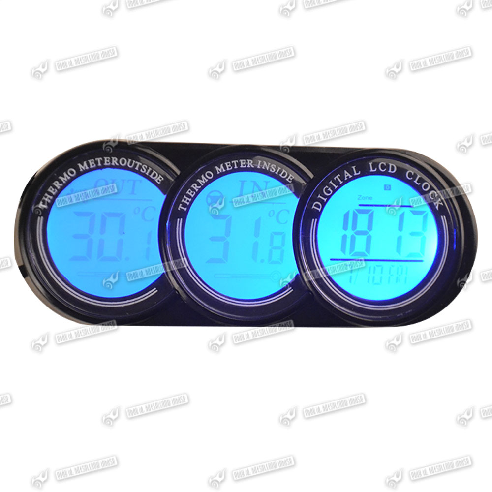 auto thermometer innen aussen digital uhr kalender blau orange leuchtung neu ebay. Black Bedroom Furniture Sets. Home Design Ideas